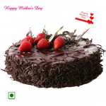 Chocolate Cake - 1 Kg Chocolate Cake (Eggless) and Mother's Day Greeting Card