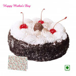 Black Forest Cake - Black Forest (Eggless) 1 Kg and Mother's Day Greeting Card