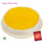 Pineapple Cake - 1.5 Kg Pineapple Cake (Eggless) and Mother's Day Greeting Card