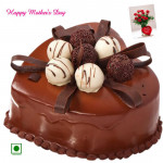Chocolate Cake - 1.5 Kg Chocolate Cake Heart Shapped (Eggless) and Mother's Day Greeting Card
