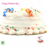 Vanilla Cake - 1 Kg Vanilla Cake (Eggless) and Mother's Day Greeting Card