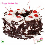 Black Forest Cake - 1.5 Kg Black Forest Cake (Eggless) and Mother's Day Greeting Card