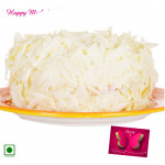 White Forest Cake - 1 Kg White Forest Cake (Eggless) and Mother's Day Greeting Card