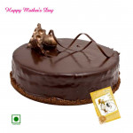 Chocolate Cake - Chocolaty Treat (Eggless) 2 Kg and Mother's Day Greeting Card