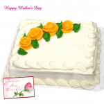 Five Star Cake - 1 Kg Vanilla Cake Square Shape (Five Star Bakery) and Mother's Day Greeting Card