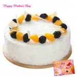 Five Star Cake - 1 Kg White Forest Cake (Five Star Bakery) and Mother's Day Greeting Card