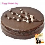 Five Star Cake - 1.5 Kg Chocolate Truffle Cake (Five Star Bakery) and Mother's Day Greeting Card