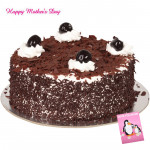 Black Forest Cake - Black Forest Cake 1.5 Kg and Mother's Day Greeting Card