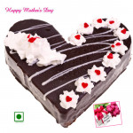 Black Forest Cake - Black Forest Cake Heart Shapped 1 Kg and Mother's Day Greeting Card
