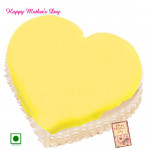 Pineapple Cake - Pineapple Cake Heart Shapped 1 Kg and Mother's Day Greeting Card