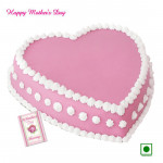 Strawberry Cake - Strawberry Cake Heart Shapped 1 Kg and Mother's Day Greeting Card