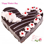 Black Forest - Black Forest Heart Shaped Cake 1 Kg and Mother's Day Greeting Card