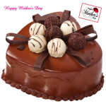 Chocolate Cake - Chocolate Heart Shaped Cake 1.5 Kg and Mother's Day Greeting Card