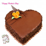 Chocolate Cake - Chocolate Heart Shaped Cake 2 Kg and Mother's Day Greeting Card
