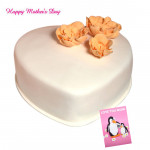 Butter Scotch Cake - Butter Scotch Heart Shape Cake 1.5 Kg and Mother's Day Greeting Card