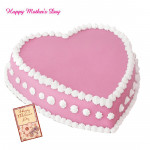 Strawberry Cake - Strawberry Heart Shape Cake 1.5 Kg and Mother's Day Greeting Card
