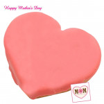 Strawberry Cake - Strawberry Heart Shape Cake 2 Kg and Mother's Day Greeting Card