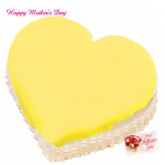 Pineapple Cake - Pineapple Heart Shape Cake 1.5 Kg and Mother's Day Greeting Card