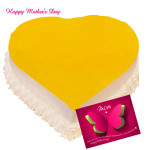 Pineapple Cake - Pineapple Heart Shape Cake 2 Kg and Mother's Day Greeting Card