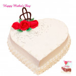 Vanilla Cake - Vanilla Heart Shaped Cake 1 Kg and Mother's Day Greeting Card