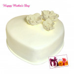 Vanilla Cake - Vanilla Heart Shaped Cake 1.5 Kg and Mother's Day Greeting Card