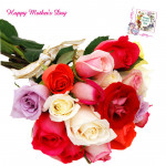 Bunch of Love - 15 Mix Roses Bunch and Mother's Day Greeting Card