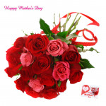 For Best Mother - 20 Red and Pink Roses Bunch and Mother's Day Greeting Card