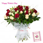 Exquisite Bouquet - 24 Red & White Roses Bunch and Mother's Day Greeting Card