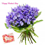 Attractive Orchids - 12 Purple Orchids Bunch and Mother's Day Greeting Card