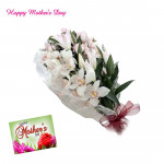 Tempting Orchids - 10 White Orchids Bunch and Mother's Day Greeting Card