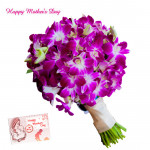 Cute Orchids - 6 Purple Orchids Bouquet and Mother's Day Greeting Card