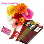 Floral Temptation - 10 Gerberas Bouquet, 3 Temptation 72 gms and card