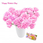 Carnation Vase - 12 Pink Carnations in a Vase and card