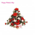 Dual Basket - 20 Red & White Carnations Basket and card