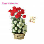 White N Red Basket - 15 White Roses and 15 Red Carnations Basket and card
