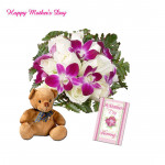 "Purple N White Love - 6 Purple Orchids + 12 White Roses, Teddy 6"" and card"