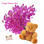 "Tender Combo - 12 Purple Orchids, Teddy 6"" and card"