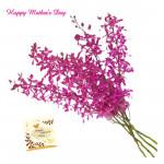 Purple Bouquet - 8 Purple Orchids Bouquet and card