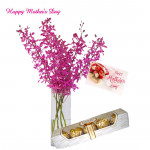 Purple Floral Vase - 6 Purple Orchids in Vase, Ferrero Rocher 4 pcs and card