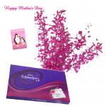 Purple Celebration - 12 Purple Orchids bunch, Cadbury Celebration 118 gms and card