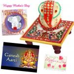 Ganesha Special - Marble Ganesha on Chawki, Ganpati Mantra CD, Ganesha Arti Cd and Card