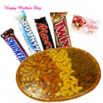 Awsome Blossom - Assorted Dryfruits Basket 800 gms, Snickers, Twix, Mars, Bounty and Card