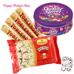 Big Treat For Mother - Nestle Quality Street, Haldiram Soan Papdi 500 gms, 4 Toblerone 50 gms and Card