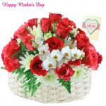 Lovely Flowers - 30 Red Roses and White Glads in Basket and Card
