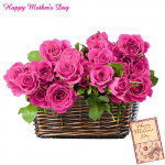 20 Pink Roses in Basket and Card