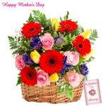 35 Assorted Flowers in Basket and Card