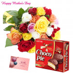 15 Mix Roses Bouquet, Chocopie 330 gms and Card