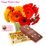 Bouquet 15 Yellow And Red Gerberas, Assorted Sweet Box 500 Gms and Card