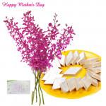 Bouquet 10 Orchid, Kaju Katli Box 250 Gms and Card