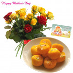 20 Red And Yellow Roses Bouquet, Kesar Penda 500 Gms and Card